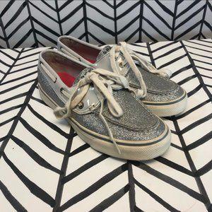 Sperry Top-Sider Silver Glitter Boat Shoe